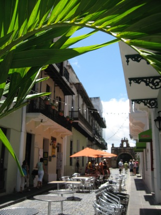patio dining on Calle Cristo, overlooking the chapel