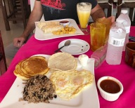 typical breakfast at Sunrise Breakfast in Jacó
