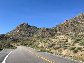 Driving down the mountains into the desert