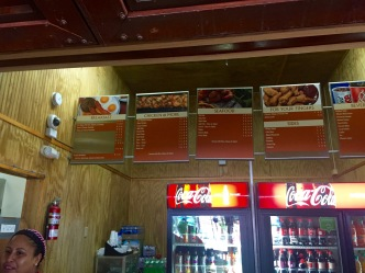 the Chicken Shack menu--simple, but delicious!