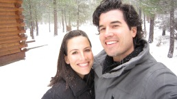 How can you not smile in a light snowfall with your love?
