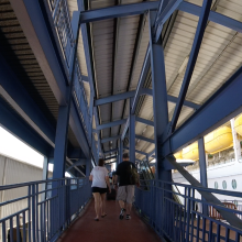 headed up the long ramp to the ship