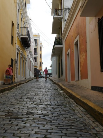 walking the blue cobblestoned streets of Old San Juan