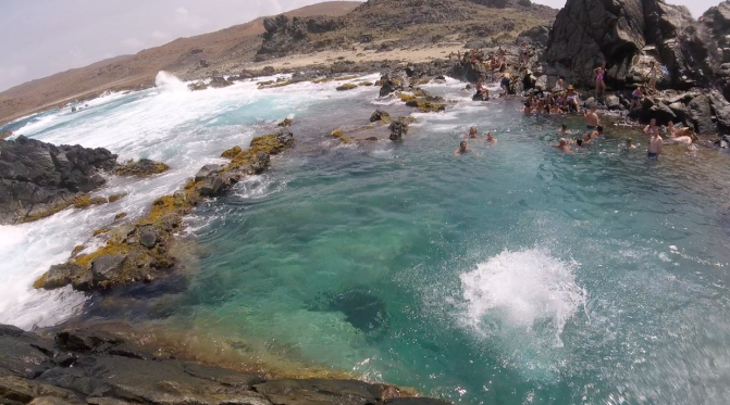 aruba natural pool from above