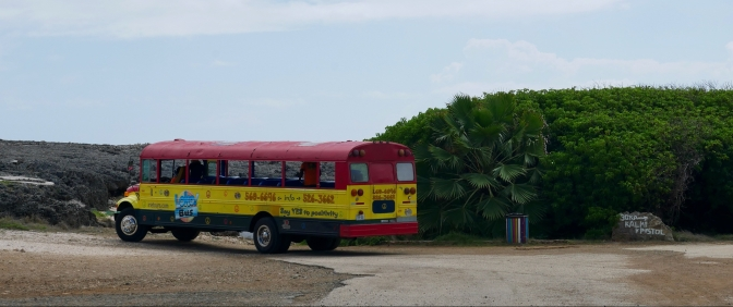 curacao irie tours bus at shete boka