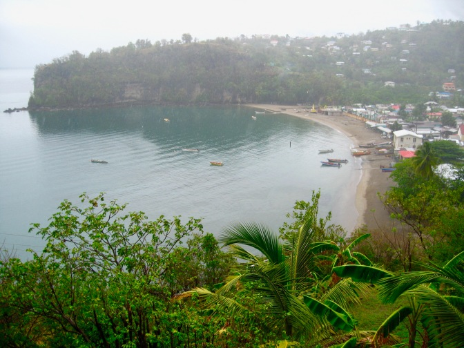 st lucia fishing village in the mist