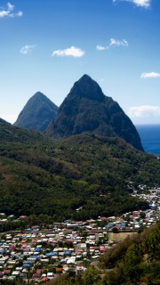 st lucia pitons sunny day