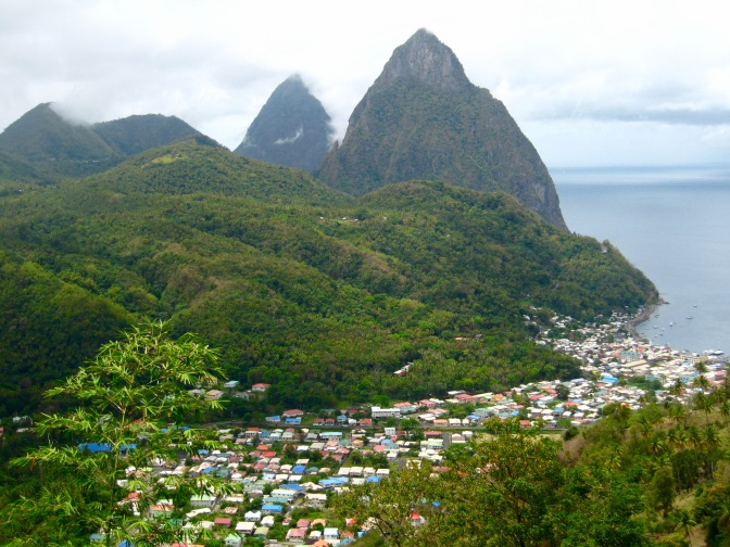 st lucia village and pitons