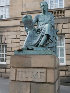 Hume statue--be sure to rub his big toe
