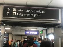 customs line--appropriately blurry picture taken in a sleepy haze